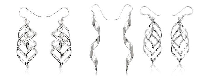 cercei lungi din argint simplu